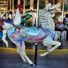 National Carousel Association - Oaks Amusement Park Carousel - Outside Row Herschell-Spillman Prancing Horse