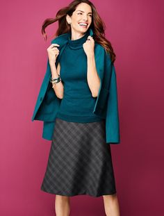 Talbots - Tartan Shadow-Plaid Full Skirt | |