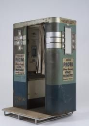2002/103/1 Photographic booths (2) and parts, Mutoscope photomatic photo booths, metal / glass / fabric / ceramic / rubber, International Mutoscope Reel Co Inc, New York City, USA, 1930 - 1940 - Powerhouse Museum Collection
