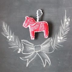 Christmas Ornament Dala Horse Swedish Horse by honeybeeskneesshop