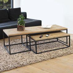 Table basse industrielle gigogne. Dimensions (HxLxP) : 42 x 150 x 60 cm. Livraison Standard au pied de l'immeuble, sur créneau journalier (du lundi au vendredi).