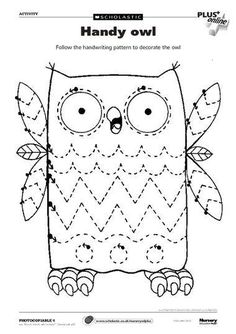 Trace Lines and Color Picture Worksheets - Preschool and Kindergarten - GRAFO - Early Years Teaching, Early Learning, Preschool Activities, Kids Learning, Preschool Printables, Preschool Worksheets, Preschool Crafts, Tracing Worksheets, Owl Classroom