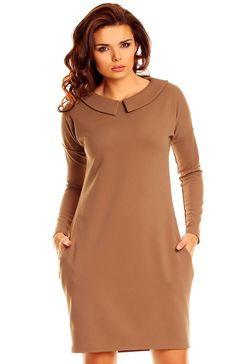 Nommo NA47 sukienka cappucino Elegancka sukienka o prostym kroju