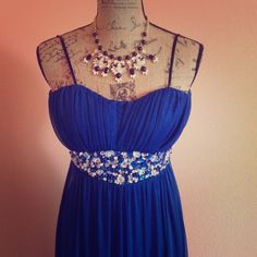 REDUCED Long royal blue dress!! Perfect condition! Wore it once to a wedding! And can go for prom, weddings, dressy parties, you name it! Adorable dress!! It said that it's size 1 so I'm sure it can fit a 0 and a 2 it's true to size and is absolutely gorgeous!!! Dresses