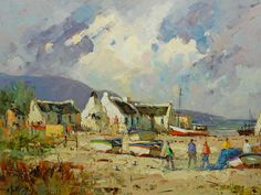 Phillip Britz (SA 1966 - ) Oil, Arniston Cottages, Signed, Fishermans Cottage, South African Artists, Beach Art, Acrylic Paintings, Cottages, Scotland, Landscapes, Arts And Crafts, Houses