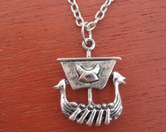 Silver Viking Ship Necklace