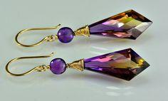 Ametrine Dangle Gemstone Earrings 14k Gold by skyvalleyjewelry, $130.00