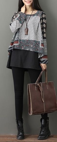 Casual Printed Two-Layer O-Neck Women Blouses look not only special, but also they always show ladies' glamour perfectly and bring surprise. Stylish Dresses, Cute Dresses, Trendy Outfits, Casual Dresses, Cute Outfits, Fashion Outfits, Grey Fashion, Womens Fashion, Blouse Batik