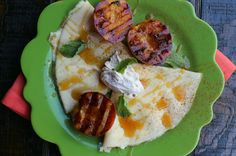 Honey Cream Cheese Filled Crepes Grilled Peaches