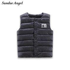 Sundae Angel Kids Girls Vests Children's Down Parkas Cotton Warm Vest Baby Girl Boy Sweet Solid Waistcoat Outerwear 1-6 Years