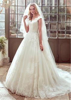 Elegant Tulle & Satin Off-the-shoulder Neckline A-Line Wedding Dresses With Beaded Lace Appliques