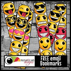 FREE Printable - Emoji Bookmark printable is a PowerPoint file and has 2 printable pages with 4 bookmarks on each page in 2 styles.