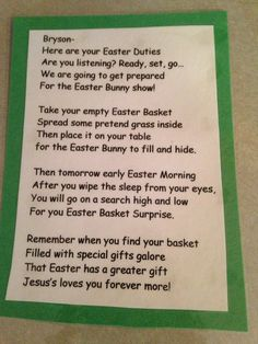 Easter poem I created for the boys to read the night before Easter