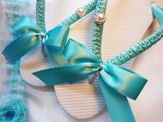 Blue wedding shoes, Tiffany blue flip flops, decorated flip flops, maid of honor gift, rhinestone flip flops - AVAILABLE AFTER 10/24/12 - LoveItSoMuch.com