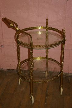 MID-CENTURY ORNATE BRASS & ETCHED GLASS BAR TEA SERVING TROLLY CART