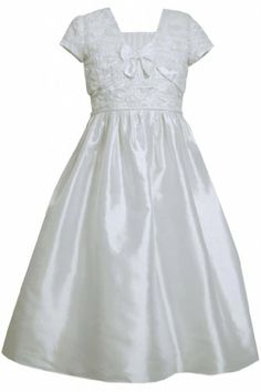 788051e646a Amazon.com  Bonaz Taffeta Communion Flower Girl Dress Jacket Set WH4TA