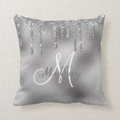 Silver Metal Glitter Drips Monogram Family Name Throw Pillow Monogram Pillows, Personalized Pillows, Custom Pillows, Decorative Pillows, Blue Bedroom Decor, Bedroom Inspo, Silver Pillows, Colorful Pillows, Animal Pillows