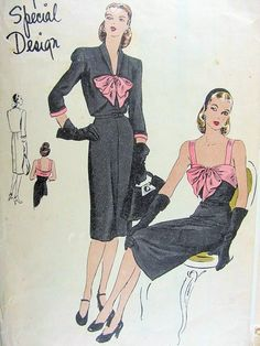 1940s Vogue Special Design Pattern 4531 Cocktail Dress and Bolero Jacket Low Square Neckline Camisole Top Slim Dress Bow Tied Lovely Style