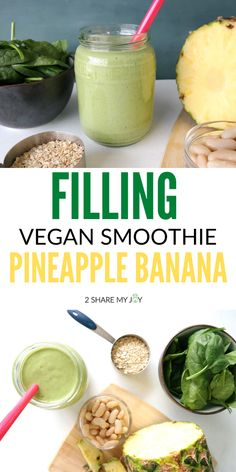 Smoothie Recipes – Menus for Life Vegan Breakfast Smoothie, Vegan Smoothie Recipes, High Protein Smoothies, Vegan Recipes, Juice Recipes, Smoothies With Oats, Smoothies With Spinach, Simple Smoothies, Green Smoothies