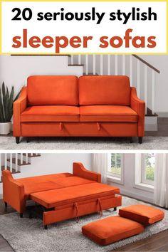 Orange convertible sofa bed