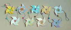 Guirlande origami en papier japonais bleue