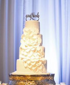 Fondant rose petal wedding cake
