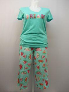 SIZE M Women 2PC Knit PJs Set SECRET TREASURES Mint Dream Short Sleeve Crop Pant #SecretTreasures #PajamaSets #Everyday