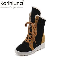 afb4084c78f6 KARINLUNA 2017 large size 34-43 lace up 4 mixed colors Shoes Woman Add Warm