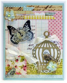 Prickely Pear Rubber Stamps:  D027 Scalloped Oval Die, CLR006_BC Birdcage Clearly Beautiful Stamp Set, D006_BC Birdcage Die