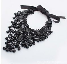 Top Quality New 2013 Statement Jewelry Vintage Bead Necklace False Collar Necklace Long Black Pendant Necklaces & Pendants US $5.59