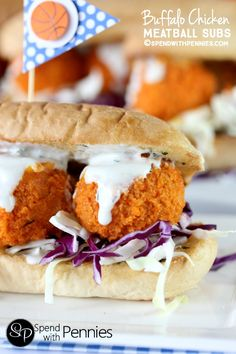 Buffalo Chicken Meatball Subs!  Like Buffalo Wings? You'll LOVE these!! Tender chicken meatballs baked crispy in the oven, rolled in buffalo sauce & topped with dip!  These can be served as buffalo chicken sandwiches or sliders! Bring on March Madness! #ShareaSandwich @CBCBreads
