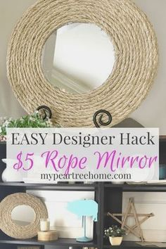 Love those rope mirrors you see everywhere? This tutorial shows you how to get the exact look for just a few dollars!! Wowza! Click to see the blog post! #diyrope #ropedecor Rope Mirror, Diy Mirror, Mirror Ideas, Diy Rustic Decor, Diy Home Decor, Rope Decor, Rope Crafts, Diy Art Projects, Boho Diy