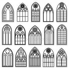 Stáhnout - Gotické okno siluety — Stocková ilustrace