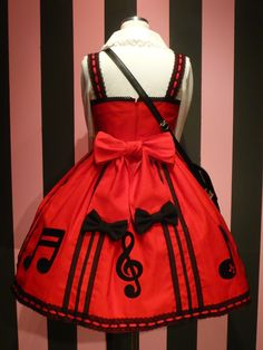 Red dress with music notes