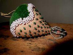 Victorian Glass Beaded Velvet Strawberry Pincushion