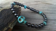 Magnetic Therapy Skull & Turquoise Hematite Magnetic Therapy Bracelet Custom Sized Men women, pet jewelry Wellness Health