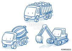 Vektor: Cute set of construction set vehicles, cars, trucks, digger, crane, Hand drawn vector cartoon doodle illustration