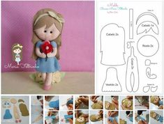 Boneca em feltro com molde Molde de feltro de boneca e projeto passo a passo