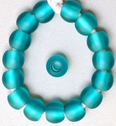 12mm Round Czech Glass Beads with Large Hole - Teal, Green or Blue Matte - Qty 10