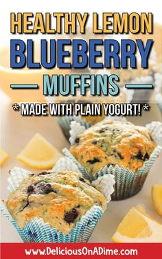 These Healthy Lemon Blueberry Muffins are like a warm sunny day in the middle of winter.    Whether you're into clean eating or just looking for a new breakfast idea to make your mornings easier, these lemon blueberry muffins are so refreshing and lovely!  Yogurt and honey make them healthier than traditional muffins, and we have tips for how to keep ingredient costs down! #muffins #healthymuffins #savemoneyongroceries #healthysnacks #freezerfriendly via @deliciouson0235