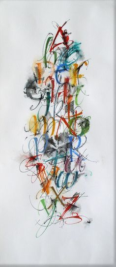 """by Suzanne Moore: more of a messy, jagged feel; use of smudges and extra lines to fill in negative space and create overlapping effect; interesting technique used to make """"O""""; nice contrast between thin and thick lines Calligraphy Words, Calligraphy Alphabet, Modern Calligraphy, Penmanship, Design Typo, Lettering Design, Hand Lettering, Alphabet Art, Letter Art"""