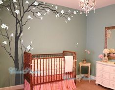 "Tree Decals Nursery Wall Sticker Baby room Murals-102"" Tall Plum blossoms Tree Decal, Vinyl Wall Decal, Wall sticker"