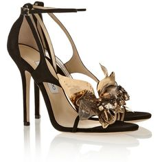 Jimmy Choo Mantle embellished suede sandals ($599) ❤ liked on Polyvore featuring shoes, sandals, heels, sapatos, black, black heel sandals, black suede shoes, strappy high heel sandals, embellished sandals and black high heel shoes
