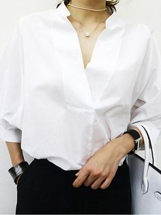 White V Neck Button Back Long Sleeve Blouse