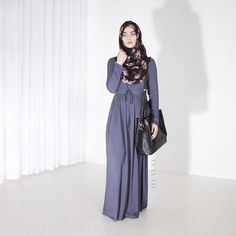 INAYAH | Carbon Tie #Abaya + Black Floral #Hijab  www.inayahcollection.com