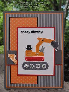 Stamp set:  I Dig You  Paper:  Basic Gray, Pumpkin Pie, Real Red, Basic Black, Whisper White, Basic Gray Patterns DSP  Ink:  Basic Gray, Pumpkin Pie, Real Red and Black StazOn  Accessories:  Dimensionals, silver mini brads