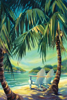The Masterpiece Art Gallery Kathleen Denis Hide Out II Wall Art takes you on a tropical escape, no matter which room it resides in. Piece depicts a coastal paradise setting with 2 Adirondack chairs sitting below large palm trees on a beach. Canvas Art Prints, Painting Prints, Canvas Wall Art, Crayons Pastel, Palm Tree Art, Palm Trees Beach, Hawaiian Art, Tropical Art, Painting Art