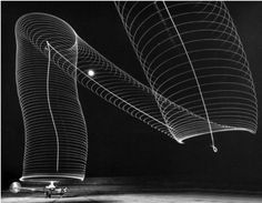 Andreas Feininger, Navy helicopter or Pattern Made by Helicopter Wing Lights, 1949