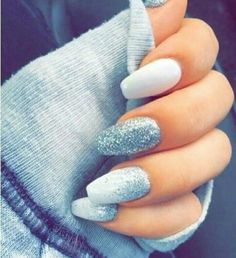 nails, white, and blue afbeelding
