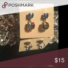 Beautiful J. Crew Earrings NWOT This are new earrings without tags, but they have the original card. Beautiful sapphire blue on top and the bottom jewel reflects all the colors of the rainbow. Firm on price, unless you select in bundle. J. Crew Jewelry Earrings